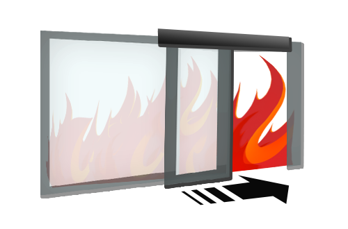 Automatic fire-proof glass doors