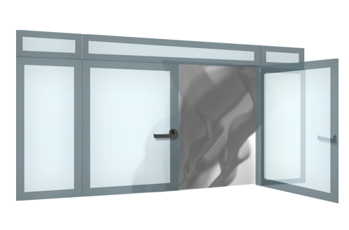 Smoke-proof glass doors and portals