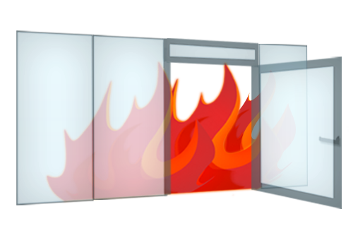 Framless fireproof FR, BR glass-wall system