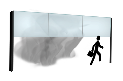 Glass smoke barrier