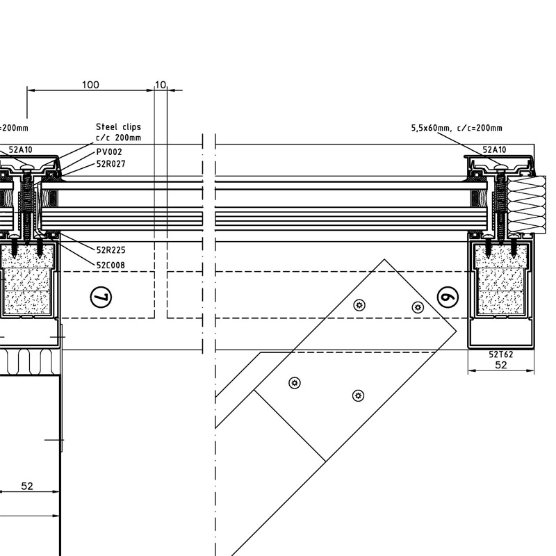 Curtain wall horizontal cross-section